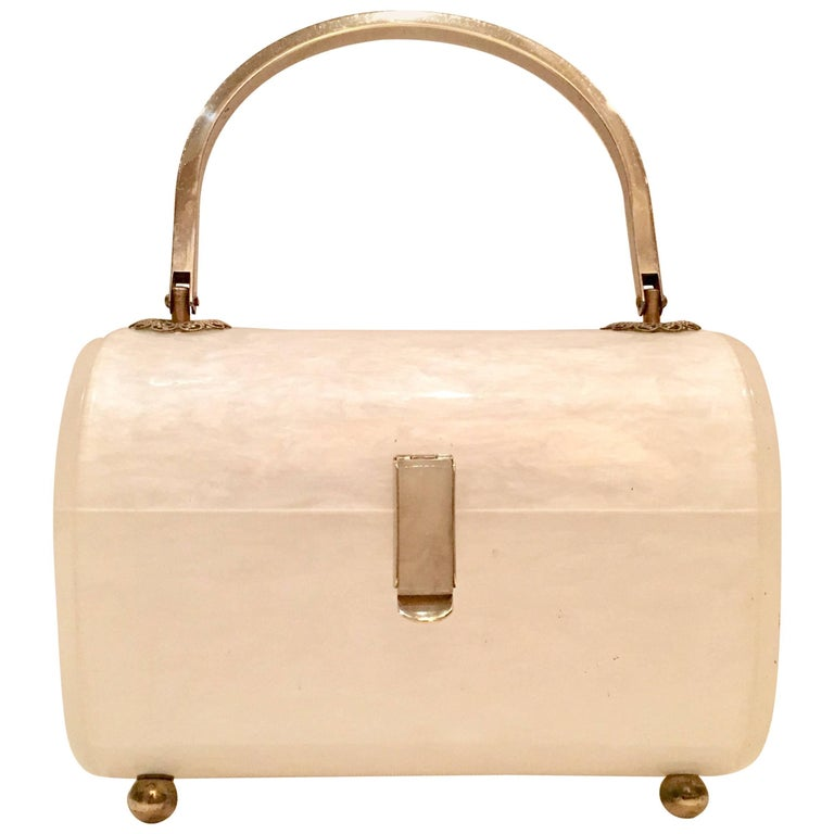 Lucite Marbleized 2-Tone Metal Lunch Box Hand Bag By, Toro NYC