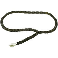 Chanel Lariat Chain Belt with Large Glass Pearl Drop
