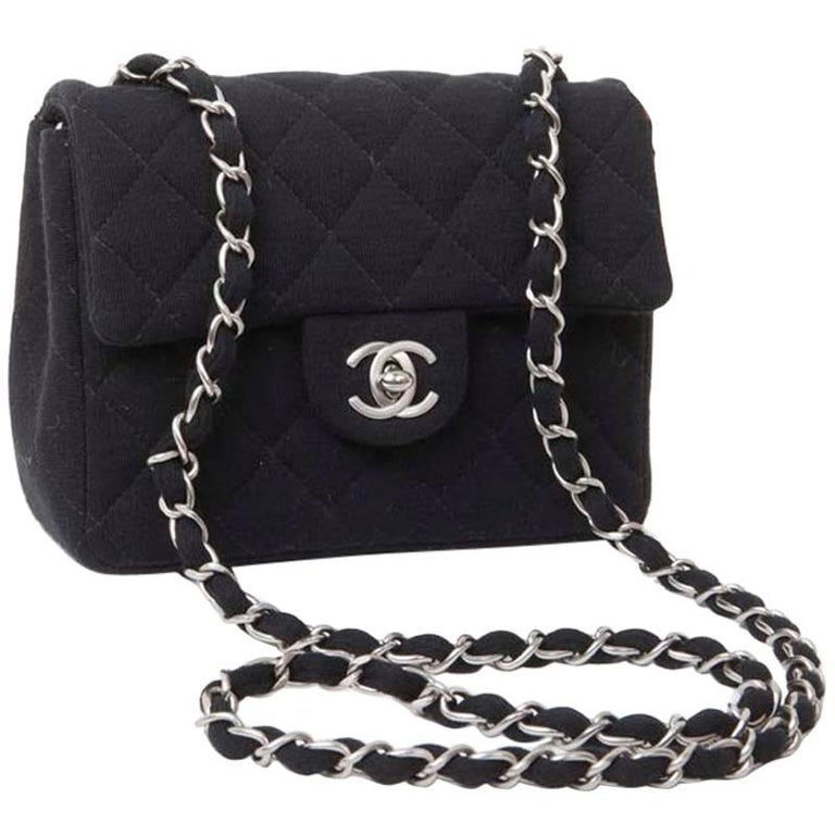 755d7beb3629 Mini CHANEL Bag in Black Jersey For Sale at 1stdibs