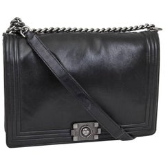 CHANEL 'Boy' Flap Bag Limited Edition in Black Smooth Leather GM