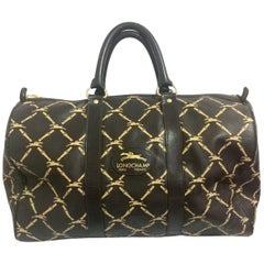 Vintage Longchamp classic dark brown nappa leather duffle bag, travel bag.