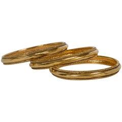 Vintage Chanel Gold Plated Bangle Bracelets - Set of 3