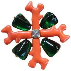 Stunning Kenneth Jay Lane KJL Faux Coral and Emerald Maltese Cross Brooch Pin