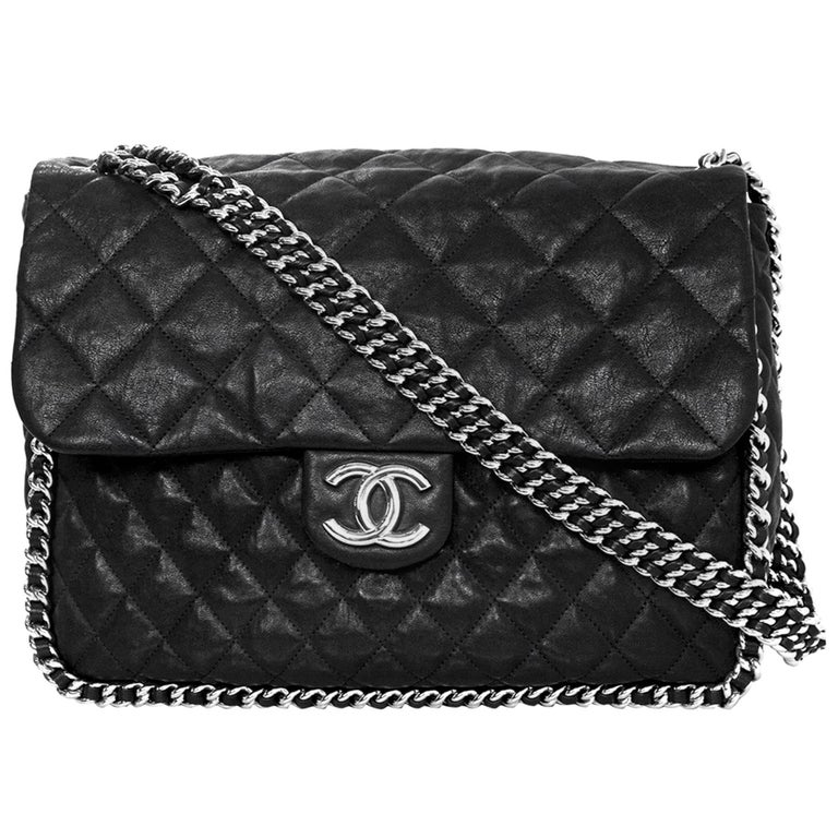 Chanel Black Quilted Chain Around Maxi Flap Bag For Sale at 1stdibs : black quilted chain bag - Adamdwight.com
