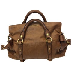 Miu Miu Brown Vitello Lux Bow Bag
