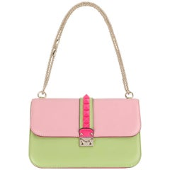 "VALENTINO Garavani S/S 2013 ""Pop Rockstud Glam Lock"" Colorblocked Leather Purse"