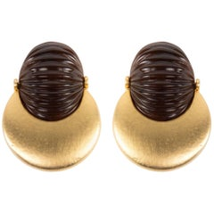 Valentino Couture Ribbed Resin Matte Gold Plate Runway Earrings