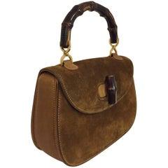 Glamorous Gucci Carob Suede Bamboo Handle Handbag