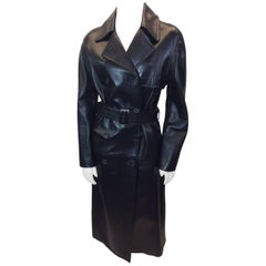 Celine Black Leather Trench Coat with Belt