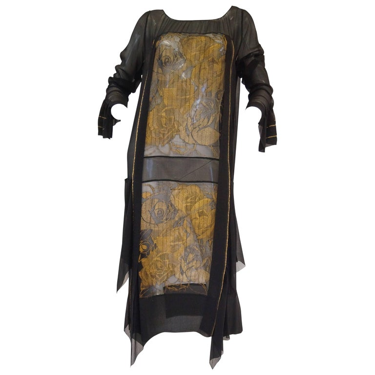 1920s Black and Gold Rose Lame Sheer Evening Dress For Sale
