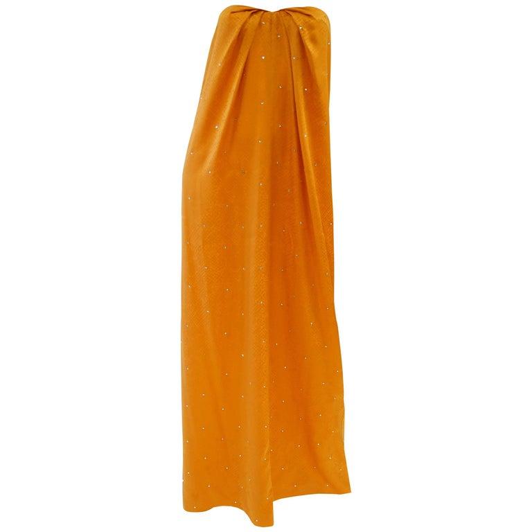 1980's Holly's Harp Silk Tangerine Snake Print and Rhinestone Evening Dress