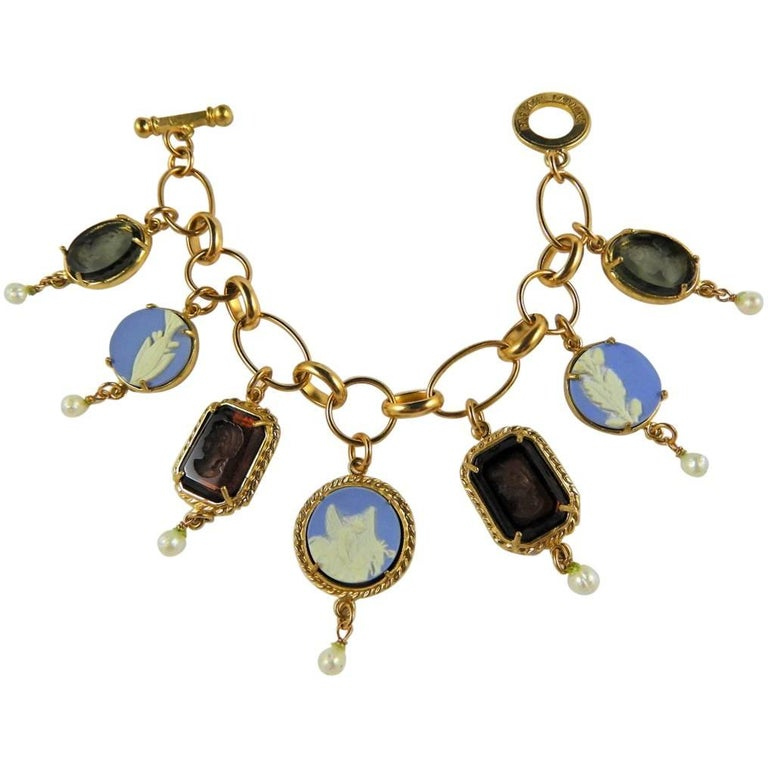 Italian Charm Bracelet Brands: Italian Bronze Charm Bracelet By Patrizia Daliana For Sale
