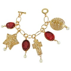 Bronze and engraved red murano glass charm bracelet by Patrizia Daliana