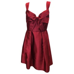 Oscar De La Renta Red Satin Bow Dress with Pleated Skirt