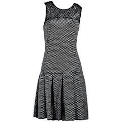 Black & White Oscar de la Renta Drop-Waist Dress