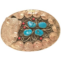 1970'S Gigantic Navajo Turquoise and Coral Silver Belt Buckle-Signed