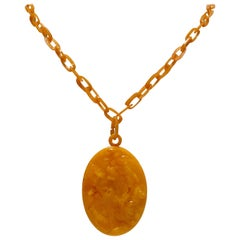 1920'S Bakelite Carved Double Sided Cameo Chain Link Necklace
