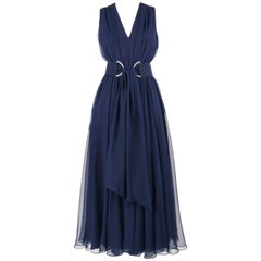 NAT KAPLAN c.1960's Navy Blue Chiffon Sleeveless Belted Evening Gown
