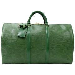 Vintage Louis Vuitton Keepall 50 Green Epi Leather Travel Bag
