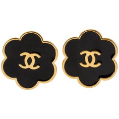 Chanel Black Enamel Logo Earrings