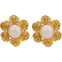Chanel Gold Flower Pearl Clip Earrings