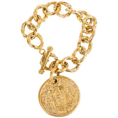 Chanel Gold Plated Oversize Tarot Coin Chain Bracelet