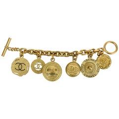 Chanel Oversize Satin Gold Coin Charm Bracelet