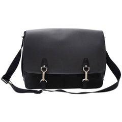 Louis Vuitton Dersou Black Ardoise Taiga Leather Large Messenger Bag