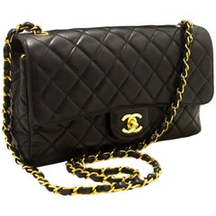 CHANEL Single Flap Chain Shoulder Bag Crossbody Black Quilted Lamb