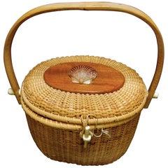 Nantucket Style Woven Wicker Basket Handbag