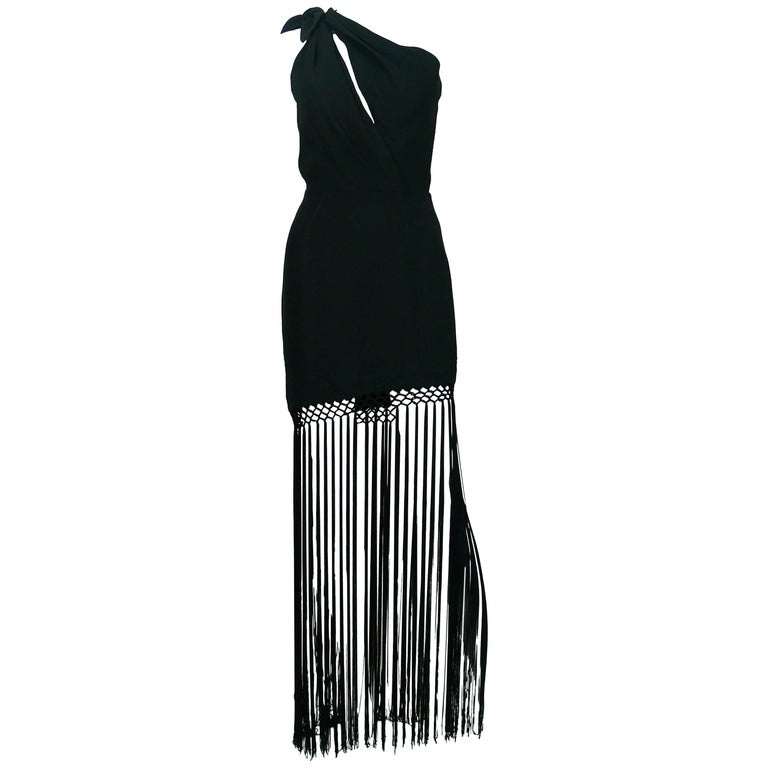 Thierry Mugler Vintage One Shoulder Black Fringe Dress