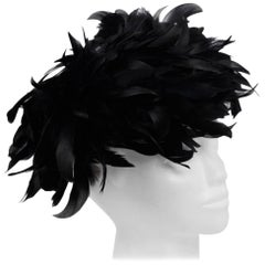 VINTAGE 1950s Black FEATHERS Woman Evening HAT Headdress