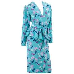 Vintage 1987 Yves Saint Laurent 2 Piece Silk Jacquard Dress with Feather Design