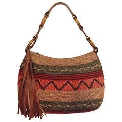 Engaging Eric Javits Multi Color Straw Shoulder Bag With Large Leather Tassel