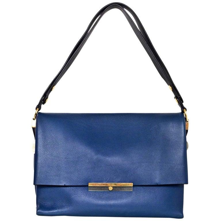 Celine Navy Leather Blade Flap Shoulder Bag with Dust Bag