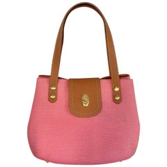 Exciting Eric Javits Squishee Pink Handbag With Tan Leather Top Handles