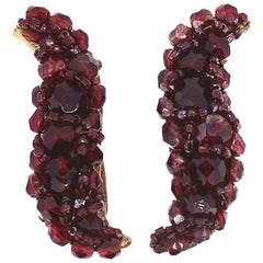 Coppola e Toppo 1960s Red Glass Bead Vintage Crescent Earrings