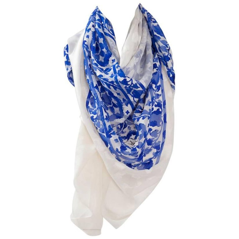 "Large Yves Saint Laurent ""Azulejos"" Printed Shawl Scarf For Sale"