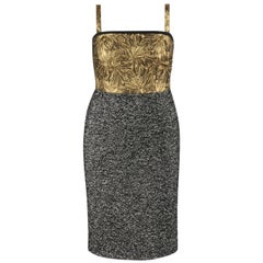DOLCE & GABBANA A/W 2013 Gold Floral Jacquard & Black White Tweed Cocktail Dress