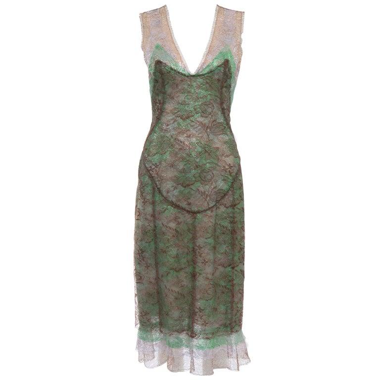 Zac Posen Sleeveless Layered Metallic Lace Evening Dress, Fall 2004