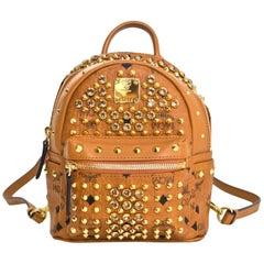 MCM Tan Monogram and Crystal Studded Mini Stark Backpack