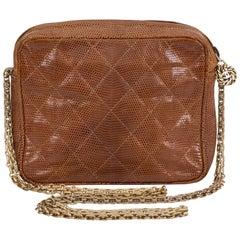 Chanel 1980s Vintage Lizard Camel Evening Bag