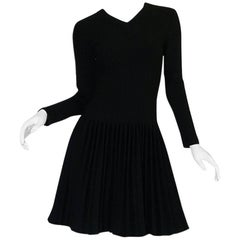 "Recent Azzedine Alaia Black Knit Pleated 'Skater"" Dress"