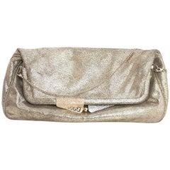 Fendi Gold Metallic Clutch Bag w/ Optional Crossbody Chain