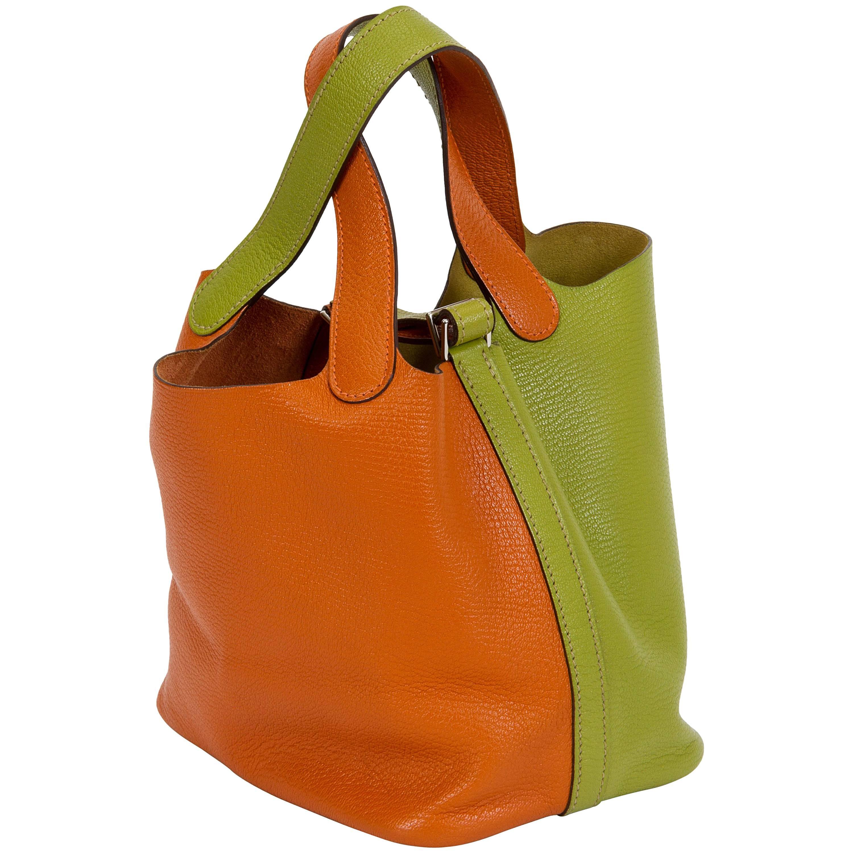 Hermès Orange & Green Chevre Picotin Bag