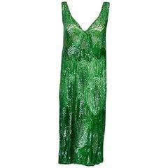 1920's Emerald Green Iridescent Beaded Sequin Art-Deco Sheer Net Flapper Dress
