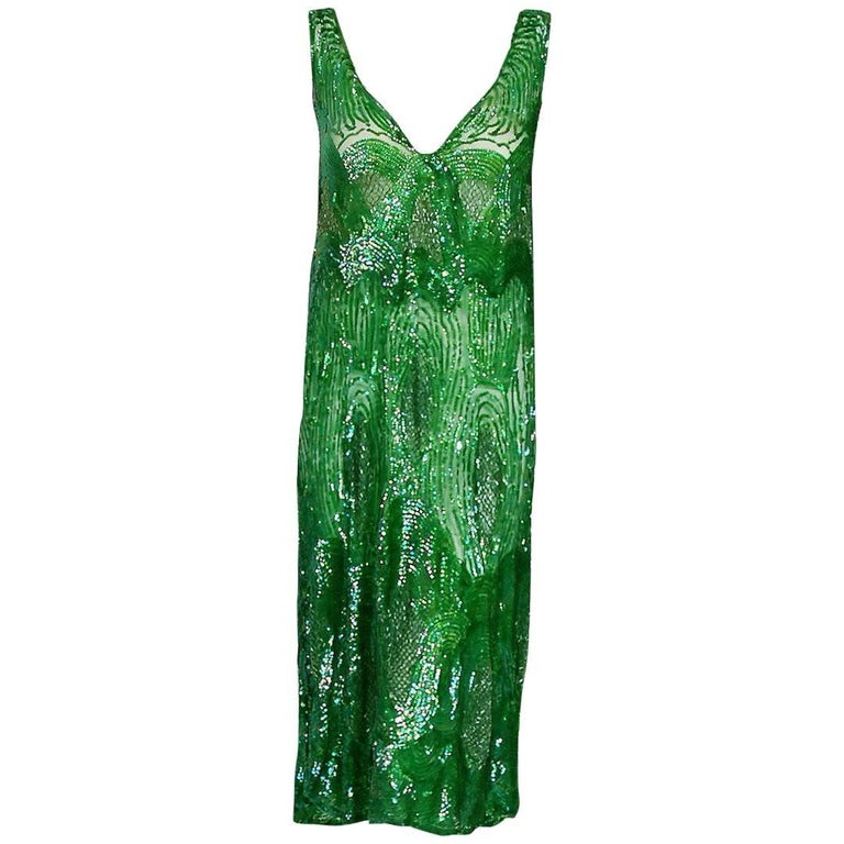 84ab5fd35e0c 1920's Emerald Green Iridescent Beaded Sequin Art-Deco Sheer Net Flapper  Dress For Sale
