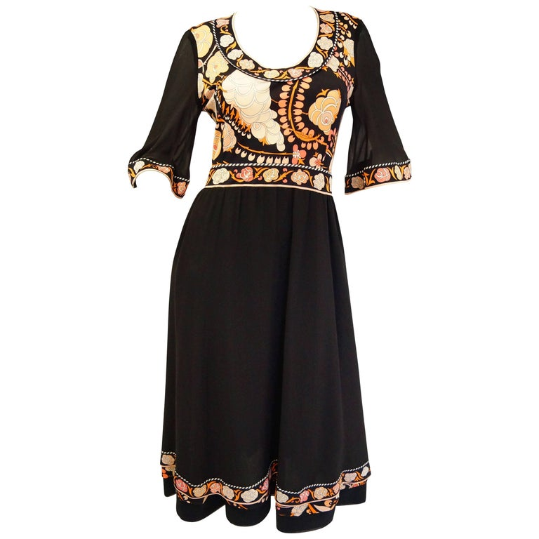 1960s Averardo Bessi Blooming Black and Floral Silk Cocktail Dress