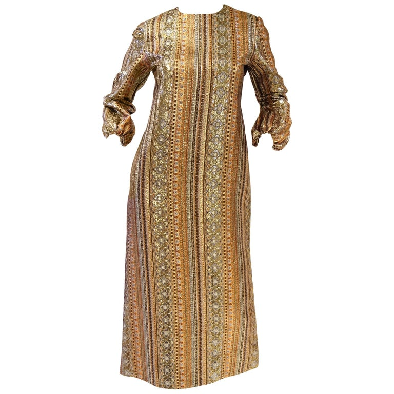 1970s Metallic Gold and Copper Party Dress