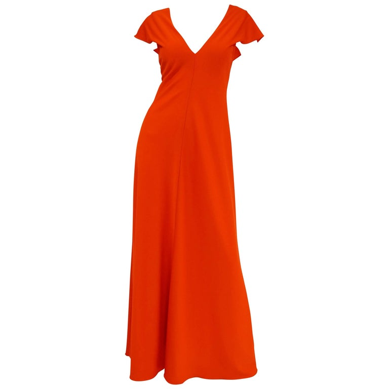 1970s Stephen Burrows Red Drape Back Evening Dress 1